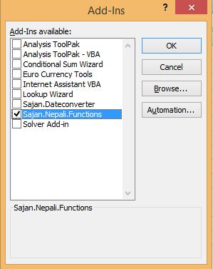 Nepali Functions Addin for Excel V6 :: Sajan Maharjan